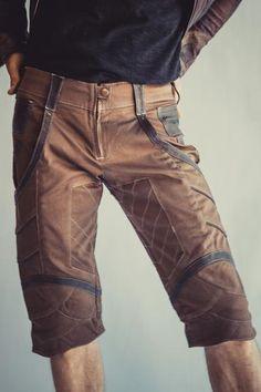 Shorts and Pants - anahata designs Tribal Fashion, Leather Fashion, Leather Men, Mens Fashion, Cargo Pants Men, Khaki Pants, Men's Pants, Tribal Shorts, Burning Man Fashion