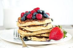 Light and fluffy Paleo Banana Pancakes - made with almond meal, coconut flour, bananas, eggs. Easy & quick delicious breakfast.