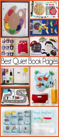 Sewing For Kids Gifts Best quiet book pages(Diy Gifts For Children). I like the road especially - If you're heading to church, on a plane or anywhere else with a toddler, check out this collection of the best pages for your DIY quiet books. Diy Quiet Books, Baby Quiet Book, Felt Quiet Books, Diy Baby Books, Diy Cloth Books For Babies, Toddler Quiet Books, Quiet Book For Toddlers, Craft Books, Sewing For Kids