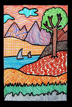 Texture Landscape Drawings | Art Projects for Kids | Teach your students about the elements of art with this colorful art lesson.
