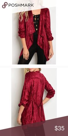 🍷 Crushed velvet cardigan Lovely wine color, lightweight cardigan. Sleeves can be worn long or secured rolled up, as pictured. Adjustable attached belt can cinch in back or be moved to the front for various looks. S (2/4), M (6/8), L (10/12) Boutique Sweaters Cardigans