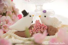 birds with sakura ,cherry blossoms branch Wedding Cake Topper