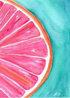 Grapefruit Watercolor Painting, Original Fruit ART, 5 x 7 Farmhouse Decor, Citrus watercolor Original, Turquoise background by SharonFosterArt on Etsy Watercolor Fruit, Fruit Painting, Watercolor Background, Watercolor Paintings, Original Paintings, Watercolor Wallpaper Iphone, Art Background, Cute Canvas, Mini Canvas Art