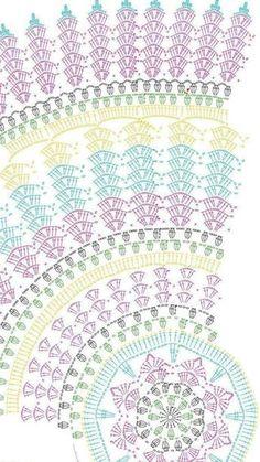 Crochet Doilies, Crochet Motif, Crochet Tablecloth… – - she Motif Mandala Crochet, Crochet Butterfly Free Pattern, Crochet Doily Diagram, Crochet Circles, Crochet Stitches Patterns, Crochet Round, Crochet Squares, Thread Crochet, Crochet Doilies