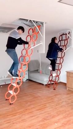 Home Room Design, Interior Design Living Room, Loft Wall, Folding Ladder, Home Organization Hacks, Home Upgrades, Home Gadgets, Cool Inventions, House Rooms