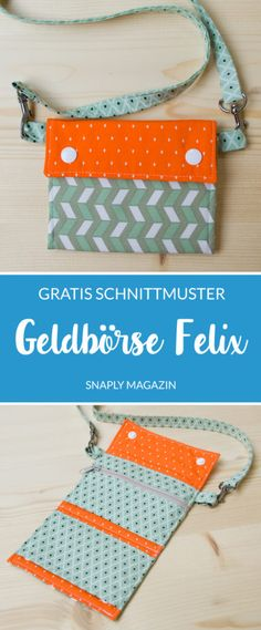 """Free sewing instructions & patterns: Children's wallet """"Felix"""" Wallet Sewing Pattern, Sewing Patterns Free, Free Sewing, Knitting Websites, Knitting Blogs, Dress Sewing Tutorials, Sewing Projects, Sew Wallet, Spring Bags"""