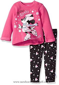 Baby Girl Clothes Disney Baby Girls' Minnie Mouse 2 Piece Fleece Top and Legging Set, Beetroot Purple, 12M