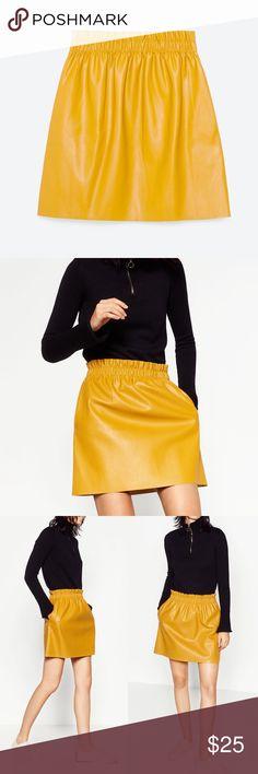 ZARA Faux Leather Yellow Mini Skirt Small Zara faux leather mini skirt in mustard yellow. Side pockets. Gathered elasticized waist. Size small. Worn once, like new condition. Zara Skirts Mini