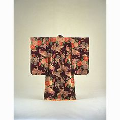 Girls Furisode (Long-Sleeved Kimono) with Mandarin Ducks, Chrysanthemums, and Narcissus on Dark Purple Ground, Taisho Period, 20th c. Kyoto National Museum