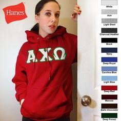 Alpha Chi Omega Hanes 10oz. Hoody $43.95 #Greek #Sorority #Clothing #AChiO #AlphaChiOmega