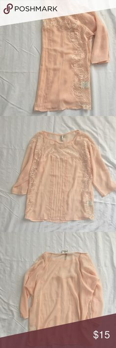 Sheer 3/4 Sleeve Blouse Lace detailing, blush color. Make me an offer! LC Lauren Conrad Tops Blouses