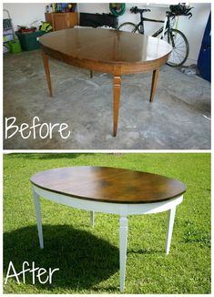 redo dining room table refinish dining room table before and after white base 3589