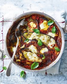 Aubergine al forno with 'nduja Aubergines are cooked in a rich tomato sauce and layered between plenty of mozzarella in this lasagne-style dish. Top with extra toasted hazelnuts before serving. Curry Recipes, Vegetarian Recipes, Savoury Recipes, Lunch Recipes, Vegetable Recipes, Dinner Recipes, Healthy Recipes, Aubergine Recipe, Bon Appetit