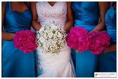 Derry and Donegal Wedding Photography Beautiful turquoise blue with hot pink flowers - so summery! :) www.kayleighclarke.com facebook.com/weddingsbykayleigh