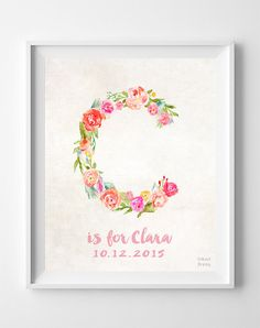 Personalised Flower Name Iron On Transfer A5 Size