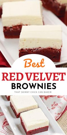 Red Velvet Brownies topped with an exquisite white chocolate frosting make an ouf of this world dessert!! Sweets Recipes, Brownie Recipes, Just Desserts, Delicious Desserts, Yummy Food, Cooking Recipes, White Chocolate Frosting, White Chocolate Fudge, Chocolate Desserts