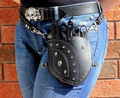 Belt Pouch Bikers Accessory with Skull Rivets and Silver Stitching, Leather Belt Pouch, Motorcycle Accessory, Leather Fanny Pack for Men Leather Art, Custom Leather, Leather Tooling, Tooled Leather, Leather Belt Pouch, Leather Purses, Biker Accessories, Hip Bag, Stitching Leather
