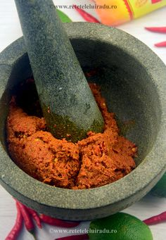 Sambal terasi Indonesian Food, Spice Blends, Mortar And Pestle, Dips, Salads, Curry, Spices, Appetizers, Sauces