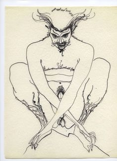Marjorie Cameron (1922 – 1995) ~ sketch from Songs of the Witch Woman  Then will you dare me, stinking and sardonic Who called me, soft and lovely, by my name? Embrace me then and feel my kiss demonic Shatter the glacier and reveal the flame.  Pan- John W. Parsons