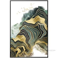 Modern Abstract Gold Green Line Bird Mountain Print Painting on Canvas Seascape Framed Wall Art Pictures for living Room Cuadros Abstractos City Painting, Oil Painting Abstract, Oil Pastel Art, Abstract City, Leaf Art, Wall Art Pictures, City Art, Art Oil, Landscape Paintings