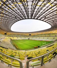 PGE Arena designed by prof. Wojciech Grabianowski from Rhode-Kellermann-Wawrowsky is considered the most beautiful stadium in Europe. Its fasade glitters with gold and the interior is equipped with green-yellow Sigma seatings by Forum Seating - alltogehter it makes you feel as if you were on the Baltic beach. The inspiration for the project was widely associated with the shape and colour of Amber. PGE Arena, Gdansk, Poland