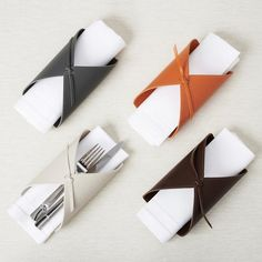 Shop for the Cannolo napkin & cutlery sleeves by Rabitti 1969 at Artedona. Enjoy personal service, worldwide delivery and secure online ordering. Tabletop Accessories, Leather Accessories, Decorative Accessories, Leather Gifts, Leather Craft, Handmade Gifts For Friends, Leather Projects, Leather Design, Leather Working