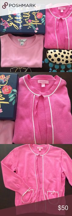 🌺🌺 Lilly Pulitzer Cardigan & T-shirt Pre-loved Lilly Pulitzer cardigan and t-shirt bundle. Both are size small. T-shirt  is light pink and cardigan is a darker pink. See photos for imperfections. Some pilling and small faded spot on the back upper right shoulder of cardigan. They both super cute, vibrant and begging to be apart of your spring wardrobe. ASKING PRICE OR BEST OFFER! Lilly Pulitzer Sweaters Cardigans