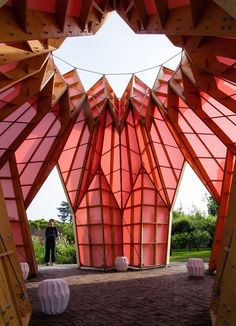 Studio Morison construct origami-like pink pavilion at the National Trust estate, Berrington Hall Parametric Architecture, Landscape Architecture, Architecture Design, Concept Models Architecture, Architecture Student, Verona, Temporary Housing, Timber Structure, Photos Of The Week