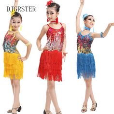 Cheap costumes green, Buy Quality dress corsage directly from China costumes hawaii Suppliers: 2017 Sequin Fringe Blue yellow Red Salsa Dress Child Girls Kids Latin Dresses Girls Latin Dance Costumes for kids Free Shipping