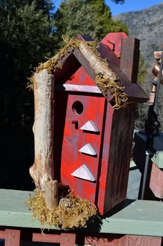Red Country Rustic Birdhouse  Garden Birds by BirdhousesByMichele