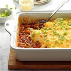 Chili Cottage Pie Recipe -This filling cottage pie is super simple and loaded with flavor. The kids love to help layer it up. —Jacob Miller, Ledyard, Connecticut