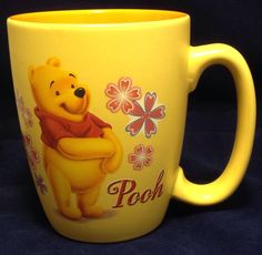 Disney Store Pooh Coffee Mug Tea Cup 16 oz Large Oversize Pink Flowers Yellow #DisneyStore