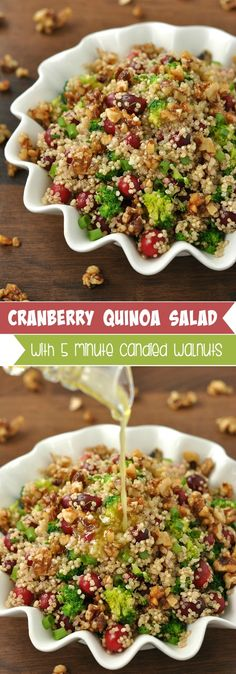 Cranberry Quinoa Salad with 5 Minute Homemade Candied Walnuts(sub honey and butter to make vegan)