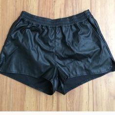 Faux leather elastic waist shorts Nwt. Sport style jogger short. H&M Shorts