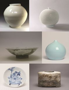 (Clockwise from top left) White porcelain by Kwon Dae-sup; porcelain by Jeon Seong-geon; celadon by Lee Ka-jin; grayish blue powdered celadon by Lee Kang-hyo; white porcelain by Lee Young-ho; and, grayish blue powdered celadon by Huh Sang-wook. (photos courtesy of the MCST)