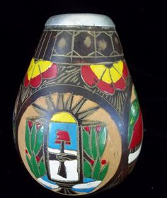"""1950s Peruvian Carved Gourd Dated 1953 colorful Vase 4"""" Faces People Homes"""