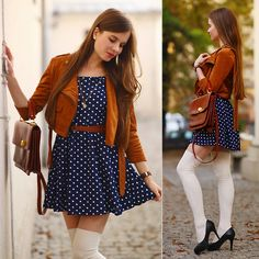 So cutie! Get this look: http://lb.nu/look/8072794 More looks by Ariadna Majewska: http://lb.nu/ariadna92 Items in this look: Brown Suede Jacket, Blue Polka Dot Dress #retro #romantic #vintage