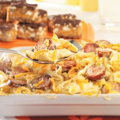 Penne and Smoked Sausage.  I made it and its easy and delicious! Recipe from Taste of Home