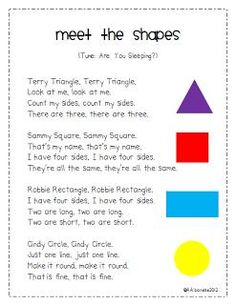 All About Shapes! - Preschool - We finally wrapped up our shapes unit. I have a few shapes freebies for you so come by my b - Kindergarten Songs, Preschool Songs, Preschool Classroom, Preschool Learning, Math Activities, Preschool Shapes, Preschool Transition Songs, Songs For Preschoolers, Kindergarten Shapes