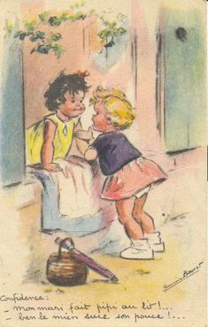Germaine Bouret Confidence : - Mon mari fait pipi au lit ! - Ben le mien suce son pouce !