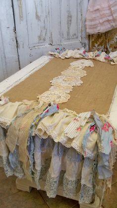 Burlap table runner petticoat country farmhouse linen handmade shabby cottage home decor anita spero