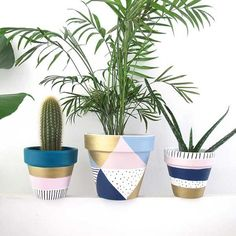 A lovely little hand painted plant pot in gold, spot, stripe and pastel design. … A lovely little hand painted. Painted Plant Pots, Painted Flower Pots, Pots D'argile, Pastel Designs, Decoration Plante, Creation Deco, Bedroom Plants, Cactus Y Suculentas, Pottery Painting