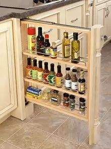 Rev A Shelf Base Filler Organizer Wood. Completely assembled organizer available in and fillers with 150 lb. Weight rated full-extension slides and adjustable shelves. Plywood Cabinets, Built In Cabinets, Base Cabinets, Painting Kitchen Cabinets, Custom Cabinets, Pantry Cabinets, Inside Cabinets, Farmhouse Cabinets, Kitchen Cabinet Organization