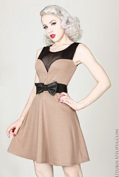 Taupe Heart Shaped Neckline Pin Up Vintage Style Dress W/ Ribbon