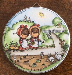 "Vtg 1966 Joan Walsh Anglund Collectible Ornament June Month 3"" Garden Girls   eBay"