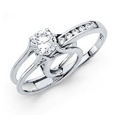 1.75ct 14k Yellow OR White Gold Engagement Ring and Wedding Band 2 Piece Set