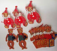 Vintage 12 Gordon Fraser teddy Bear Gift Tags England clown jack in box top hat