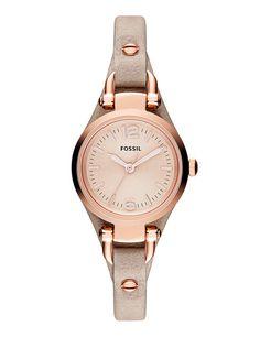 Reloj de correa de piel envejecida con esfera en acero rosado (99 €), de Fossil.