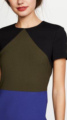 Colorblock Dress, One Shoulder, V Neck, Blouse, Image, Tops, Dresses, Women, Fashion