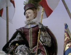 Glenda Jackson, as Elizabeth I. in 'Elizabeth R', re-creates the Queen's speech to the troops at Tilbury, 1588. Marvelous outfit!